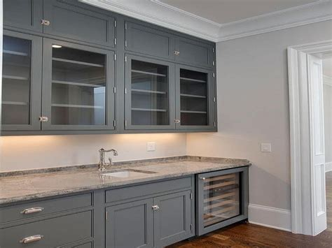 grey kitchen cabinets  granite countertop ideas
