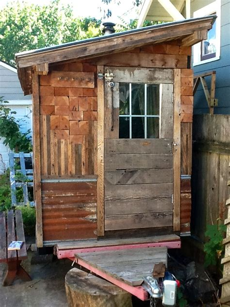 micro sauna  pop  shelter built  recycled materials