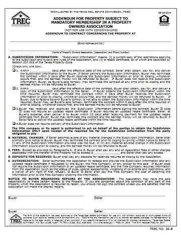addendum  property subject  mandatory membership