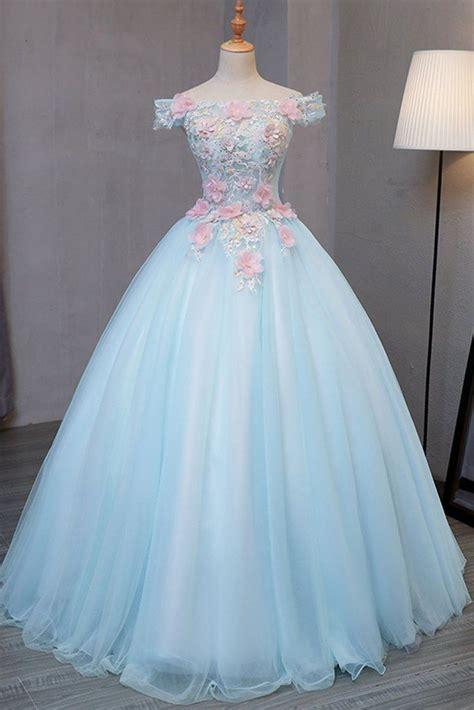 sky blue tulle princess  shoulder long formal prom