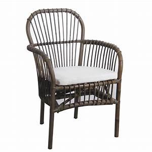 Coussin Fauteuil Rotin : fauteuil en rotin gris avec coussin mfa2780c aubry gaspard ~ Preciouscoupons.com Idées de Décoration