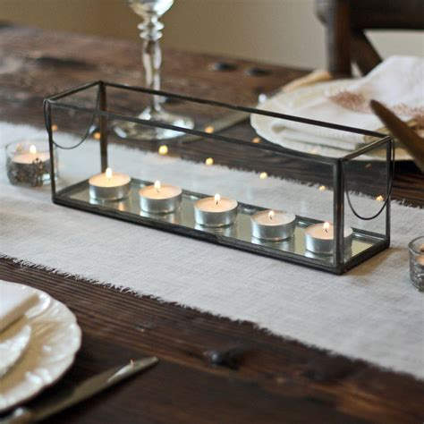 mirrored tea light candle holders long glass and mirror tea light holder with metal frame by