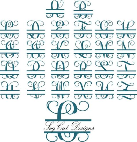split letter svg split monogram letters split alphabet svg files vector files  silhouette