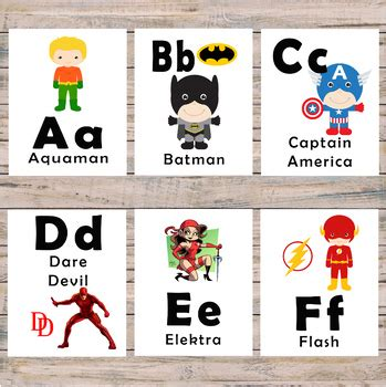 superhero alphabet flash cards pre   kindergarten