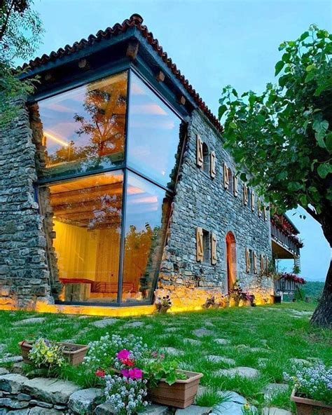 stunning rustic stone house   modern touch