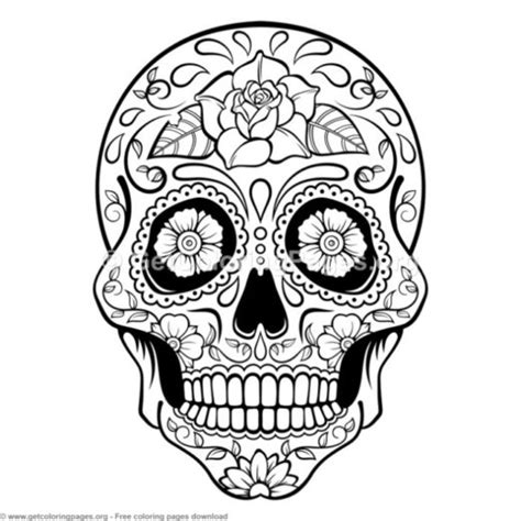 sugar skull coloring book sugar skull coloring book for adults getcoloringpages org