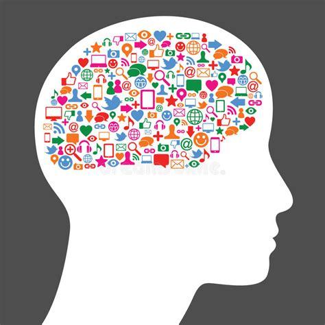 Social Media Icon In Human Brain Stock Vector