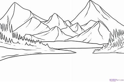 Coloring Pages Landscape Mountain Mountains Getdrawings