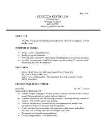 tourism student resume objectives tourism sle resume
