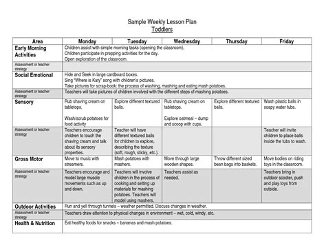 free weekly lesson plan template lots of free