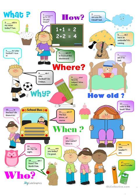 chart question words practice worksheet free esl