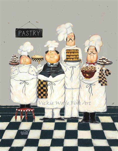 four tall pastry chefs art print fat chef paintings art