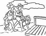 Coloring Beach Pages Gambar Mewarnai Fun Keluarga Printable Boardwalk Together Bersama Berlibur Template sketch template