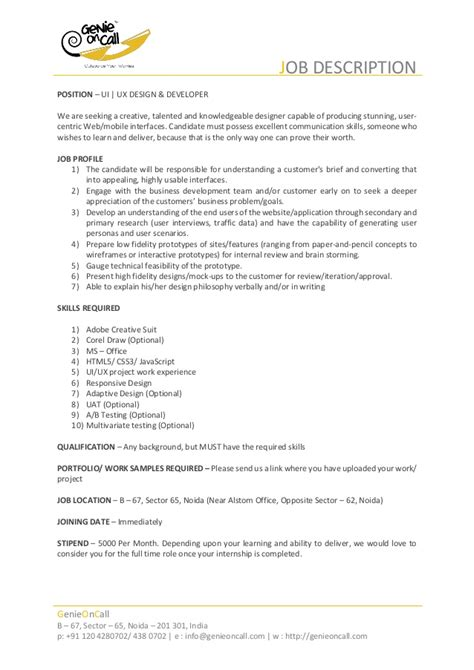 Intern Responsibilities Resume by For Interns Description Of Ui Ux Designer
