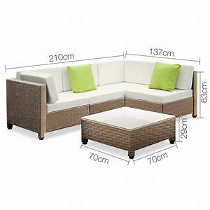Rattan Lounge Set : 5 pcs brown wicker rattan 4 seater outdoor lounge set beige ~ Orissabook.com Haus und Dekorationen