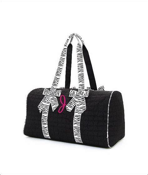 personalized quilted duffel bag black  zebra print trim etsy cheer bag bags unique bags