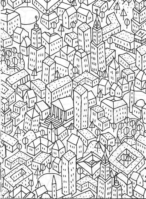 756 best adult colouring buildings houses cityscapes