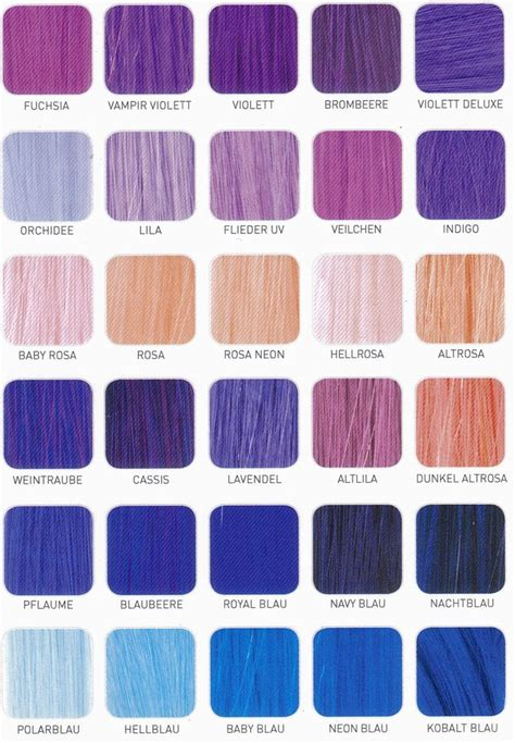 Hair Color Chart by Purple Hair Color Chart Shade Charts For Synthetic Hair