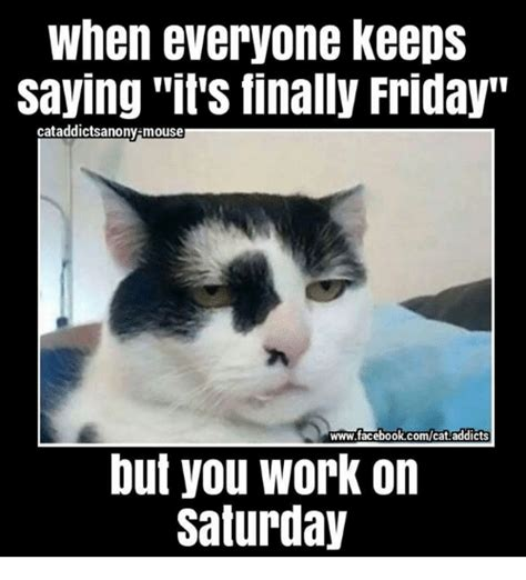 Working Cat Meme - we made it its finally friday unless you work saturday via kittyworks friday meme on me me