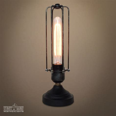cylinder  light cage metal mini table lamp