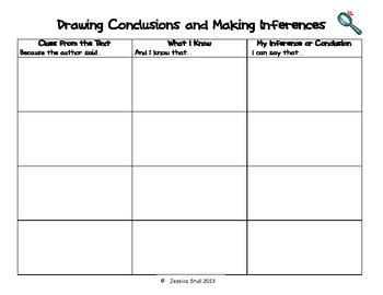 drawing conclusions and making inferences graphic organizer by mrs jessica