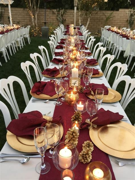 and gold reception decoration fall colors burgundy napkins table runners my wedding