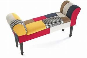 Pied De Lit Lumineux : tabouret pied de lit patchwork solid banquette ~ Melissatoandfro.com Idées de Décoration
