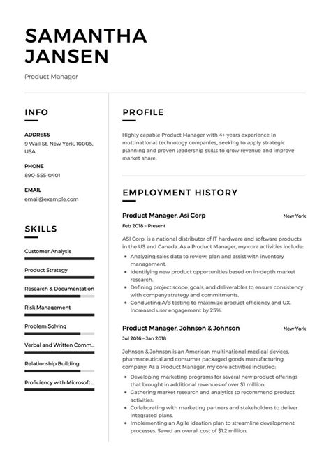 Product Manager Resume Sample, Template, Example, CV, Formal, Design,   Resume template examples