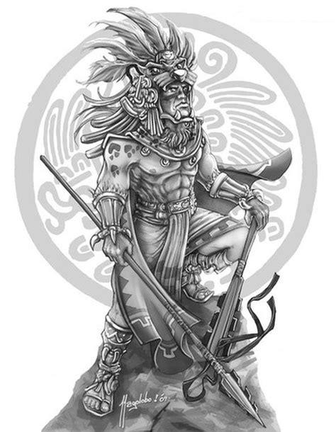 Grey ink aztec warrior tattoo design - Tattoos Book - 65.000 Tattoos Designs
