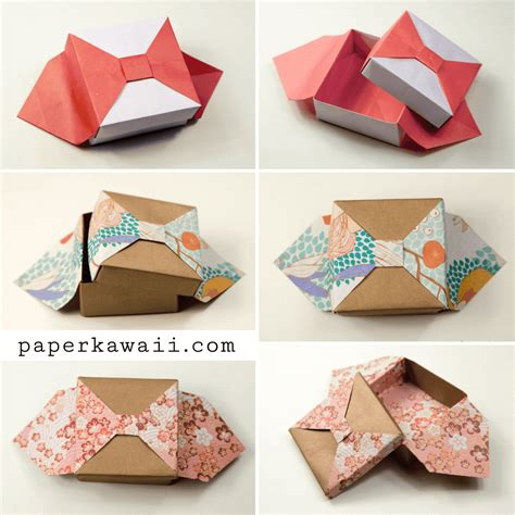 Origami Box With Bow Tutorial Paper Kawaii