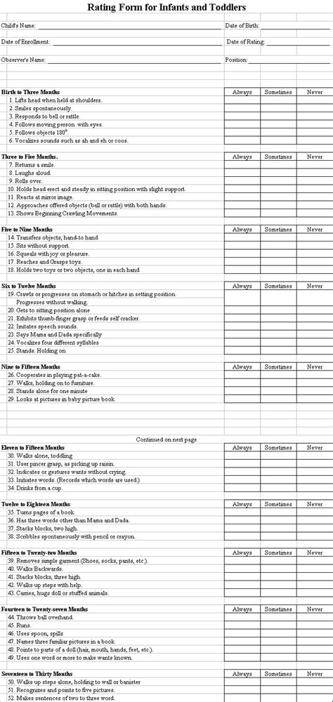 authorization  assessment childcare  daycare forms
