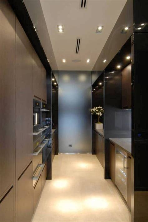 galley kitchens modern design  recessed lighting