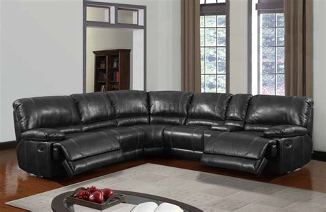 power motion sectional sofa black bonded leather