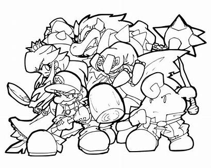 Mario Coloring Super Characters Pages Bowser Printables