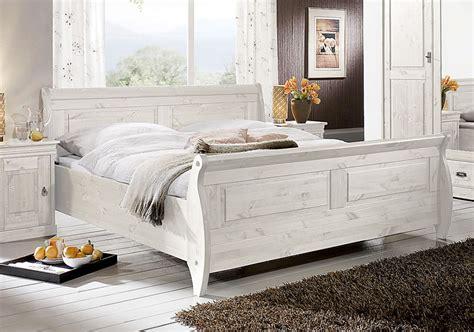 Bett 180x200, Kiefer Massiv Weiß Lasiert