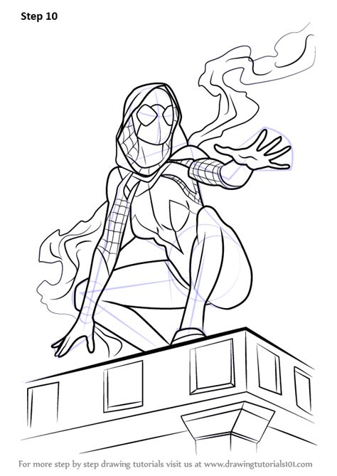 learn   draw spider gwen marvel comics step  step drawing tutorials