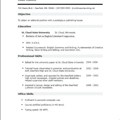 Make Resume And Save It by Sle Resume No Work Experience College Student 13
