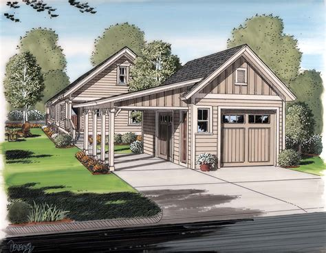 House Plans With Porch And Detached Garage