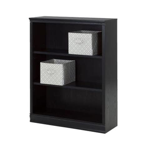black bookcase with baskets south shore furniture morgan 3 shelf bookcase with 2