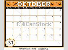 Halloween calendar An october calendar showing the 31st