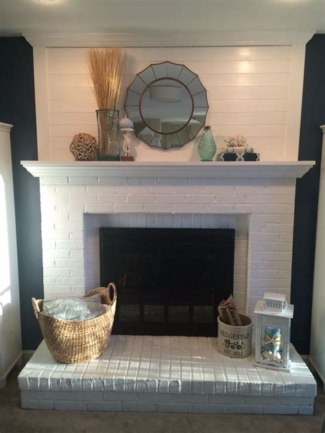 White Painted Shiplap by Shiplap Fireplace Makeover Painted Fireplace White