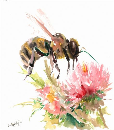 honey bee and flower original watercolor painting 11 10
