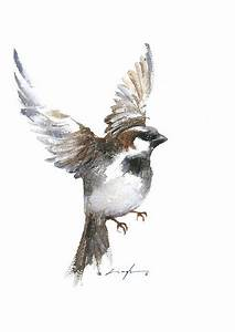 Flying Sparrow Watercolor Painting by Nitin Singh