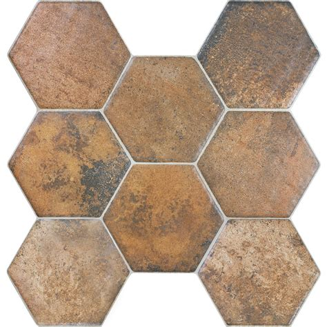 Lowes Canada Hexagon Tile by Shop Style Selections Caloca Terra Porcelain Floor Tile