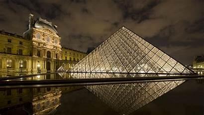 Paris France Pyramid Night Louvre Buildings Architecture