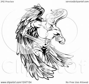 Clipart of a Black and White Muscular Male Guardian Angel ...