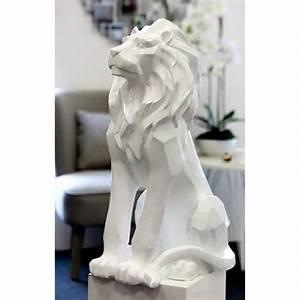 Grande Statue Decoration Interieur : statue decorative animal lion blanc resine 67cm design ~ Teatrodelosmanantiales.com Idées de Décoration
