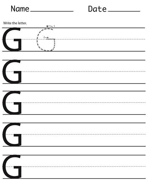 letter g handwriting worksheet kidz activities