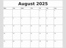 August 2025 Printable Calanders