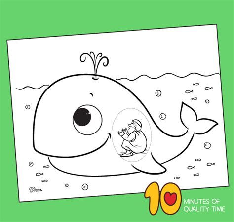 jonah   great fish coloring page  minutes  quality time